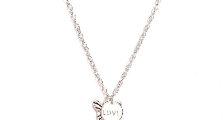 Ожерелье колье намисто подвеска Бабочка Мотылёк цепочка кулон медальон Love Любовь амулет оберег для подарка серебро ланцюжок