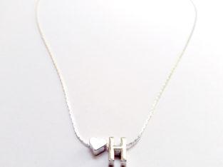 Ожерелье колье намисто подвеска цепочка кулон медальон амулет оберег сердце уникальный подарок серебро ланцюжок личная буква «Н»