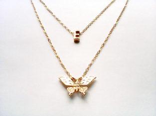 Ожерелье колье намисто подвеска цепочка кулон медальон амулет оберег уникальный подарок золото ланцюжок личная буква бабочка мотылек