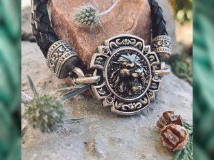 Срібний чоловічий браслет «Лев»