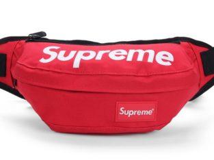 SUPREME сумка на пояс бананка через плечо косметичка (цвет: красный)