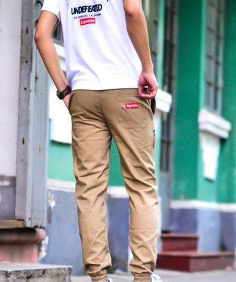 SUPREME джоггеры штаны брюки Jogger Pants чиносы на шнурке бежевый ... b09197fd559bc