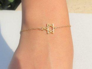 Женский браслет подвеска звезда Давида кулон медальон золото цепочка Киев Украина