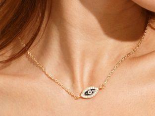 Всевидящее Око Глаз Swarovski ожерелье колье намисто подвеска цепочка кулон медальон амулет оберег для подарка золото ланцюжок