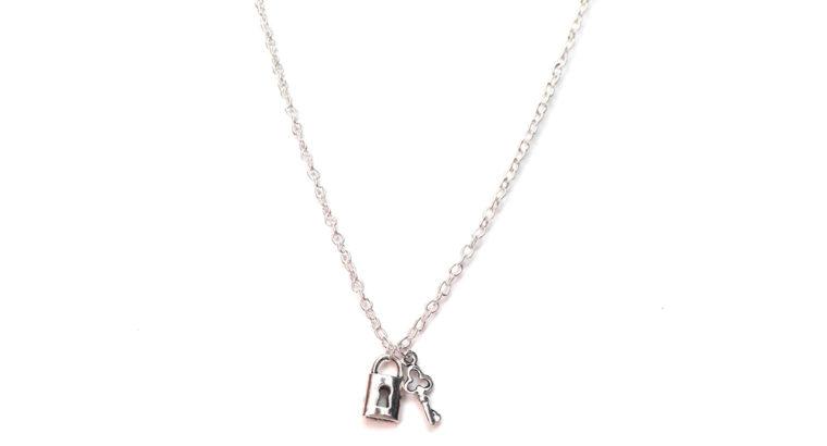 Ожерелье колье намисто подвеска цепочка кулон замок медальон амулет оберег ключик от сердца для подарка серебро ланцюжок