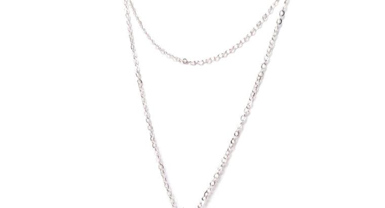Ожерелье колье намисто подвеска двойная цепочка кулон медальон амулет оберег для подарка серебро ланцюжок жемчуг жемчужина