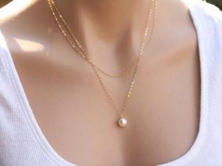 Ожерелье колье намисто подвеска двойная цепочка кулон медальон амулет оберег для подарка золото ланцюжок жемчуг жемчужина