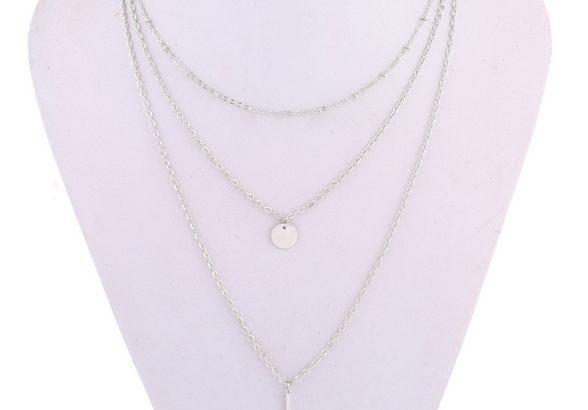Восхитительное ожерелье колье намисто подвеска тройная цепочка кулон медальон амулет оберег для подарка золото ланцюжок