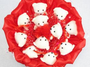 Букет из игрушек Мишки 11 красный 5281IT